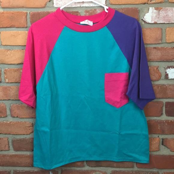 Size SM Vintage Blue Color block Shirt